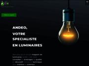 screenshot http://www.andeo.be luminaires, cheminées bio éthanol, meuble déo design