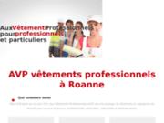 screenshot http://www.avp-vetements-pro.fr vêtement professionnel restauration, médical, vête