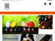 screenshot http://www.chocolaterie-thil.com fabrication de chocolats fins avec liqueurs, pralinés, ganaches, pâtes d'amande, chardons lorrains, pur beurre de cacao