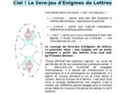 screenshot http://www.ciellelivreje.fr ciel! le livre-jeu d'enigmes