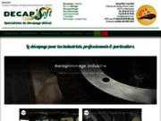 screenshot http://www.decapsoft.com spécialiste de l'aérogommage, aussi en fabriquant de glace carbonique