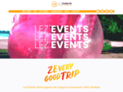 screenshot https://lezevents.fr/ voyage & évènement étudiants en France et Europe
