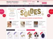 screenshot http://www.matierepremiere.fr/ bijoux comme perles et strass à matière première