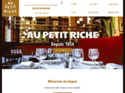 screenshot http://www.restaurant-aupetitriche.com restaurant près du boulevard haussmann, paris