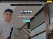 screenshot http://www.vitrerie-landrieux.com/ fabrication vitrine, tournai