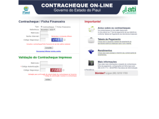 ContraCheque On-line - Governo do Estado do Piauí - Clique para visitar.