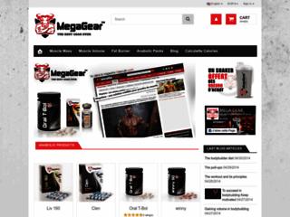 Aperçu du site Mega Gear boutique de musculation, vente de stéroides légaux sur internet