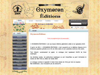 Capture du site http://www.oxymoron-editions.com/