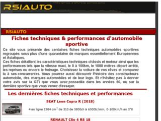 RSIAUTO : fiches techniques et performances automobiles