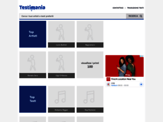 Testi Mania.com - Testi Musicali Testi di Canzoni GRATIS Song Lyrics