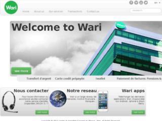 Capture du site http://www.wari.sn