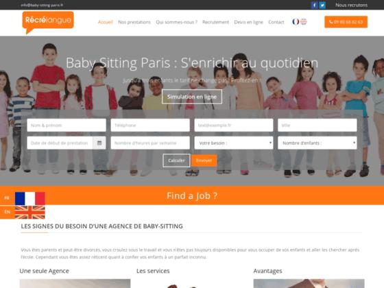 Recrelangue, entreprise de garde d'enfant en anglais