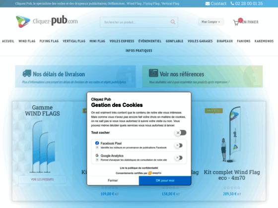 Vente de voiles publicitaires - Cliquez pub