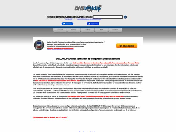 Détails : Outil gratuit d'audit complet de parametre de dns