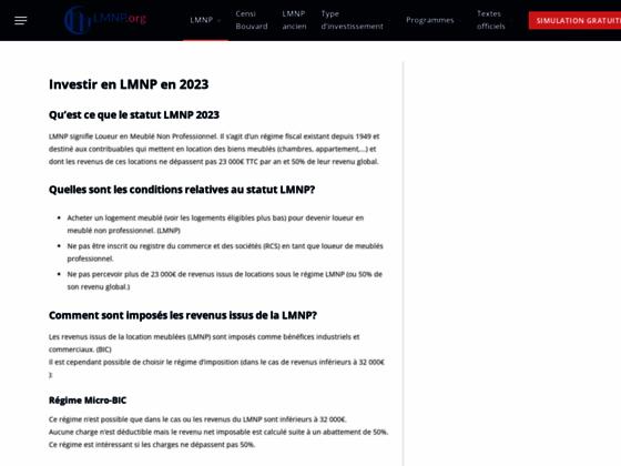 Détails : Statut LMNP