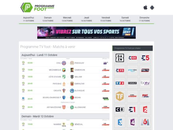 Détails : Guide des retransmissions télé de matchs de foot