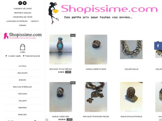 Détails : Shopissime -  Vente de bijoux fantaisie à petit prix