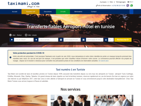 Taxi Tunisie: commander taxi aéroport Tunis, Hammamet, Monastir | Taximami.com