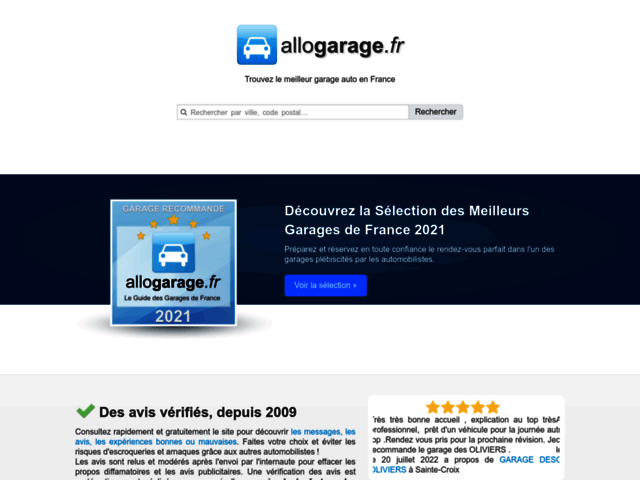 Page d'accueil Allogarage