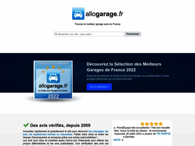 Capture d'écran du site allogarage