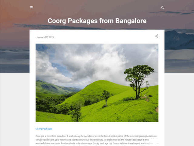 Coorg Package - Some of our best packages
