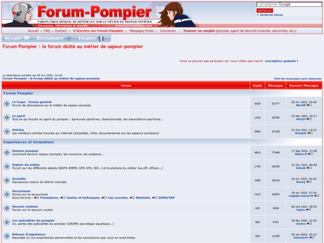 Survey of Forum pompier - le forum dédié au métier de sapeur-pompier  - Karaoke-israel.com