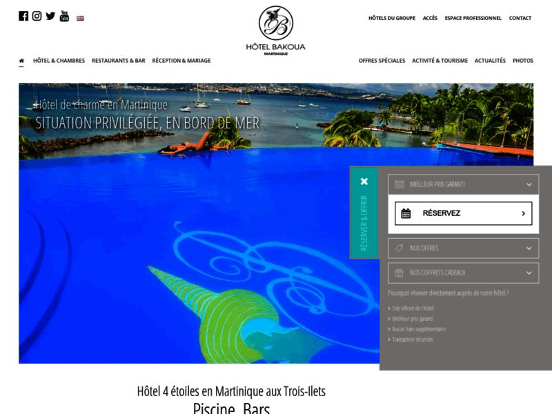 1ère page Google Trois-ilets : Hotel bakoua
