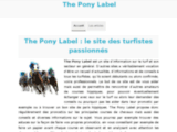 The Pony Label : matériel poney en direct du fabricant !