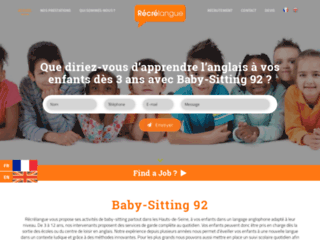 Détails : Récrélangue, entreprise de baby-sitting dans le 92