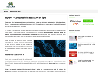 myADN, comparatif des sites de tests ADN en ligne
