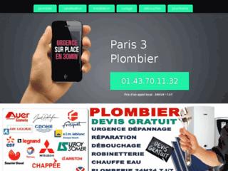 Plombier Paris 3 : Devis/Déplacement Gratuits & sans engagement