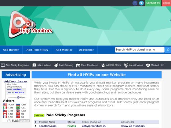 Скриншот сайта www.allhyipmonitors.ru