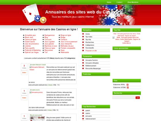 Annuaires des sites web du Casino