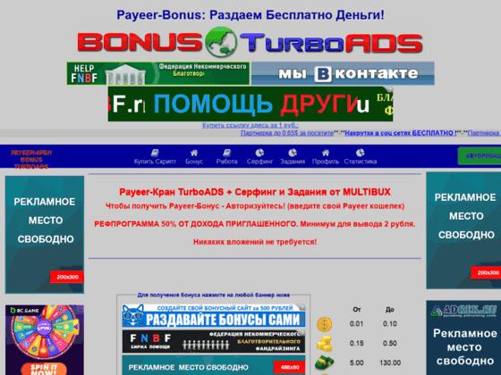 Скриншот сайта bonus.turboads.ru
