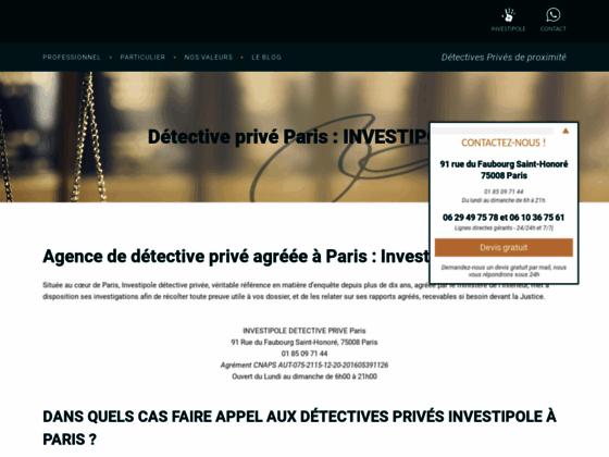 Détective privé à Paris Investipole