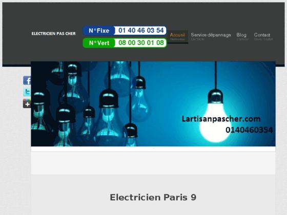 Electricien Paris 9 - Electricien pas cher 75009 - Tél 0140460354 - Lartisan pas cher