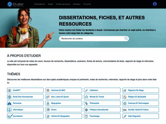 Dissertation, Rapport de stage et mémoire Gratuits