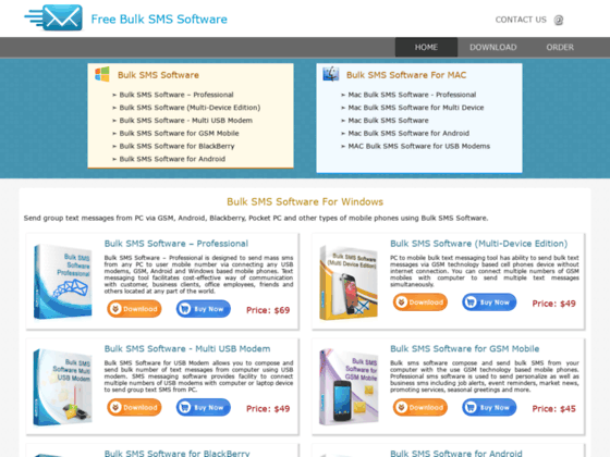 Free bulk SMS software send infinite mobile short text messages group sms mass alerts
