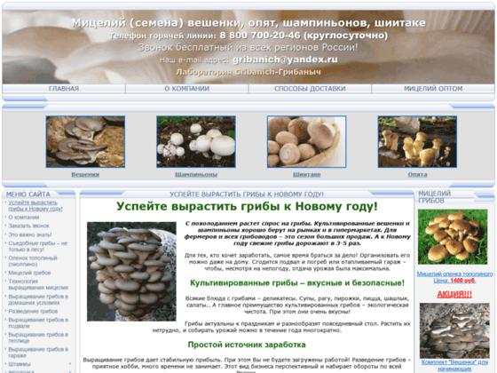 Скриншот сайта gribanich.ru