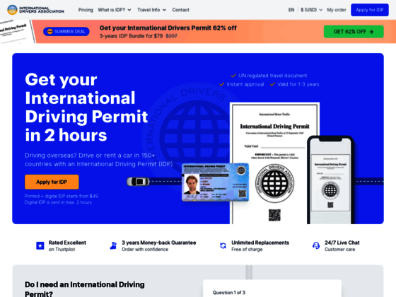 Скриншот сайта internationaldriversassociation.com