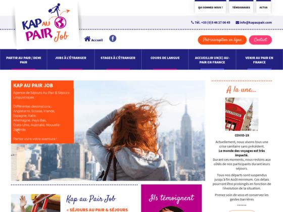 Kap au Pair, Site dédié aux séjours au pair, jobs, stages à l'étranger. Placements garantis