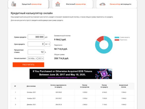 Скриншот сайта kreditniy-calculator.ru