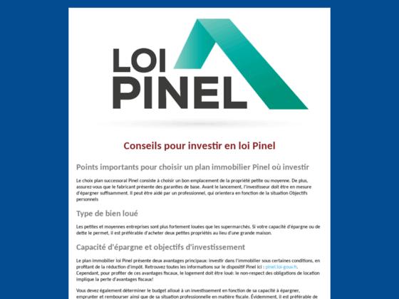 LOI PINEL - Conseil pour bien investir.