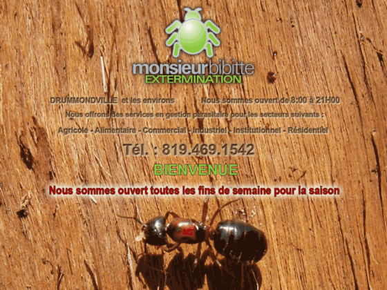 Monsieur bibitte extermination - Exterminateur à Drummondville: punaises de lit , fourmis, araignée