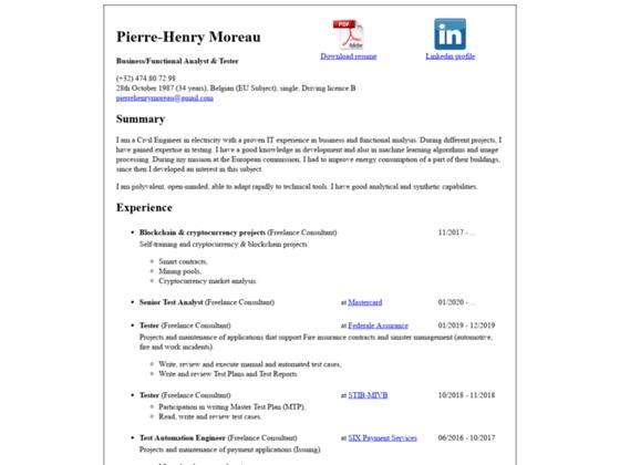 Curriculum Vitae of Pierre-Henry Moreau