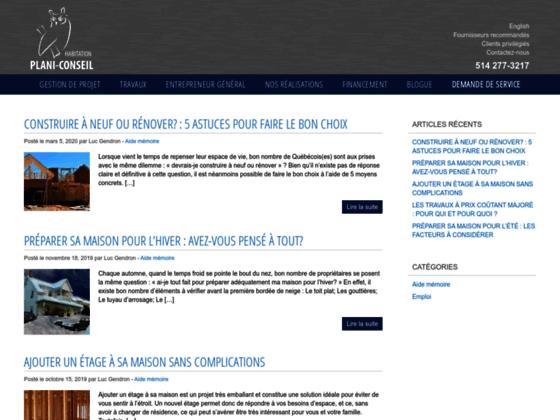 Entrepreneur de bâtiment: le site web Planiconseil