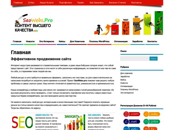 Скриншот сайта seowebs.pro