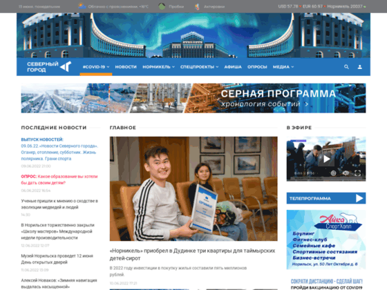 Скриншот сайта sgnorilsk.ru