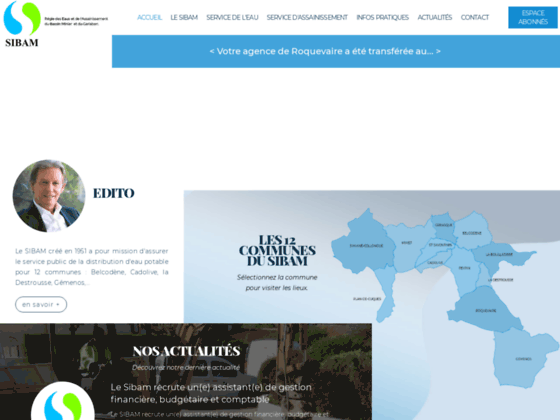 SIBAM, Service des eaux de Peypin, La Destrousse, La Bouilladisse, Belcodène, Gréasque, Mimet, St Sa