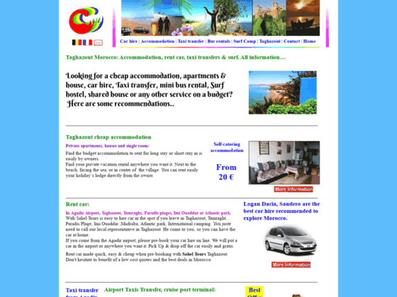 Taghazout Morocco Rental: car hire, Apartment, surf camp, taxi transfer and minibus hire. cheaper
